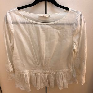 Tory Burch White Ruffle Top